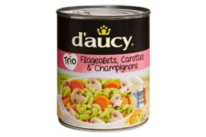 D'aucy Flageolets Beans, Carrots, Mushrooms